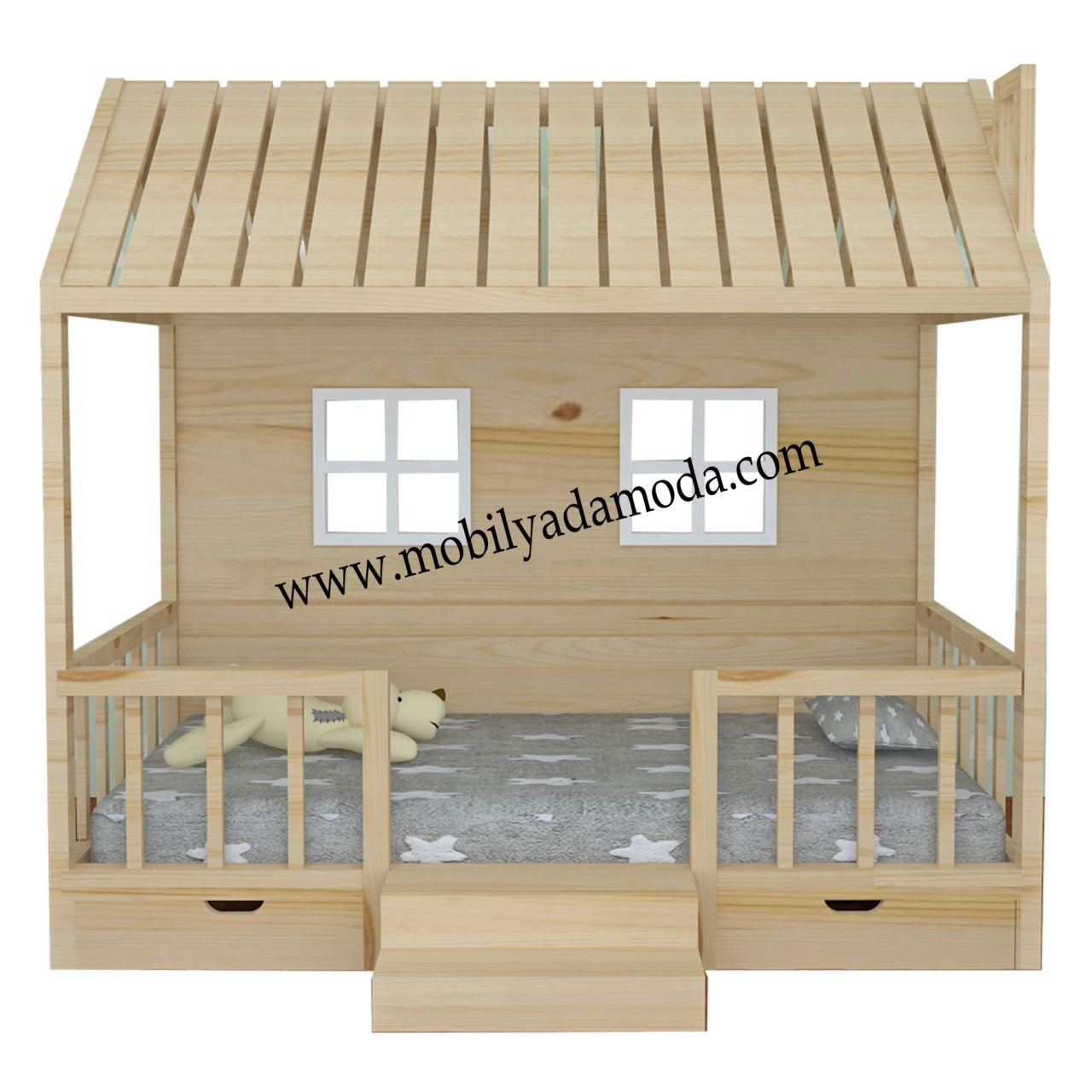 montessori yer yatağı altı 2 Çekmeceli ve basamaklı Çatısı kapalı