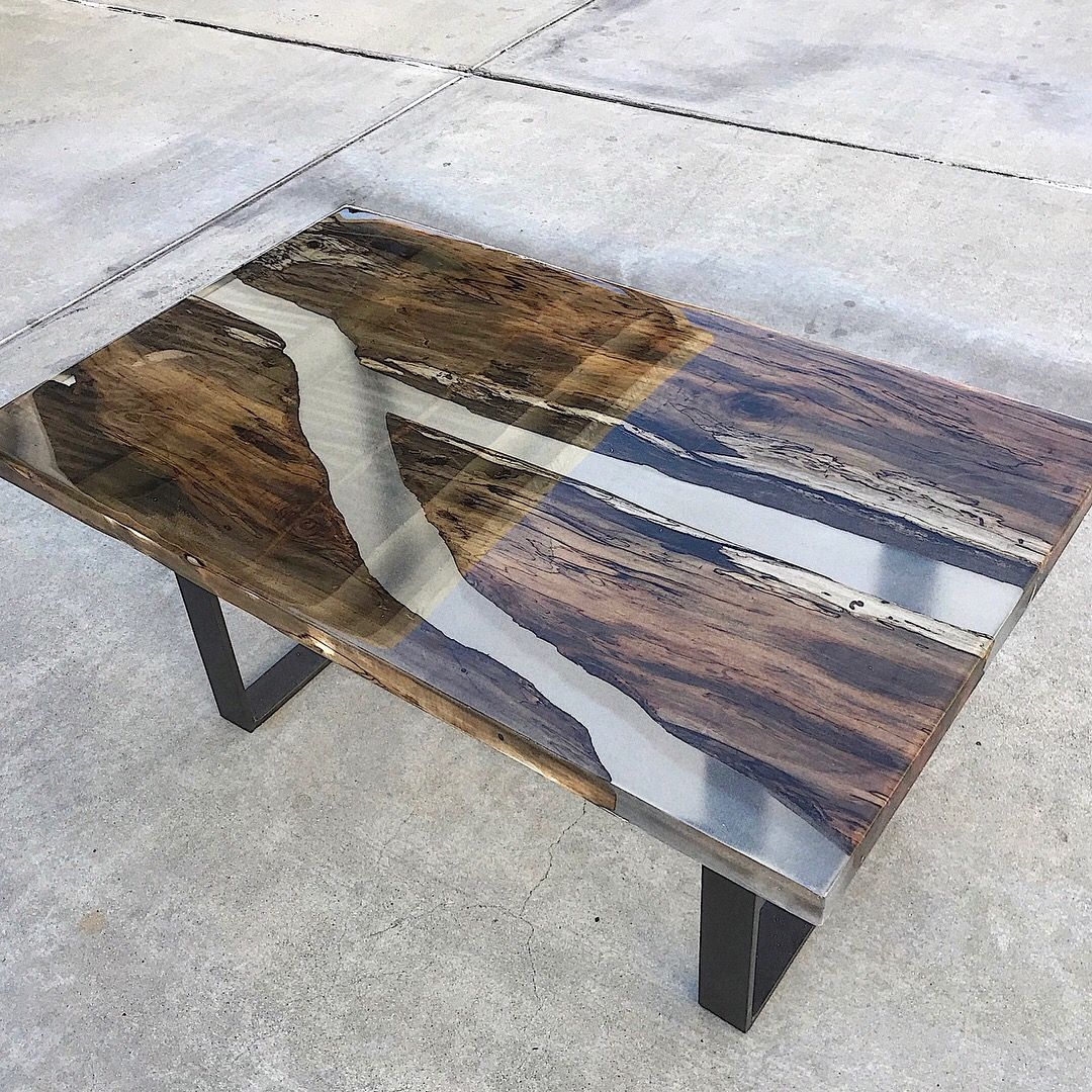 Lovely Decor Objects Resin Dark Wood Coffee Table With Black Bent Metal Legs Dark Wood Coffee Table Wood Resin Table Resin Furniture [ 1080 x 1080 Pixel ]