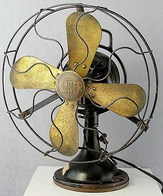 ESTATE ANTIQUE ELECTRIC OSCELLlATING TABLE FAN HUNTER CAST IRON WIRE BRASS  BLADEfollowitfindit  Antiques Antique fans Vintage fans