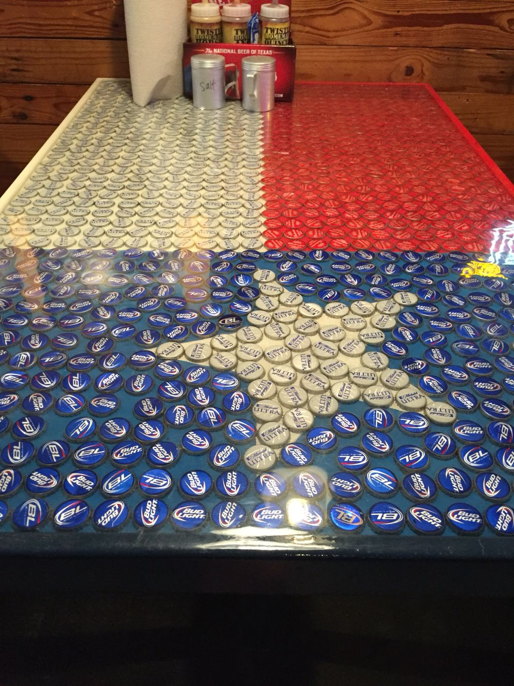American Flag Table Made Out Of Beer Caps Love Love