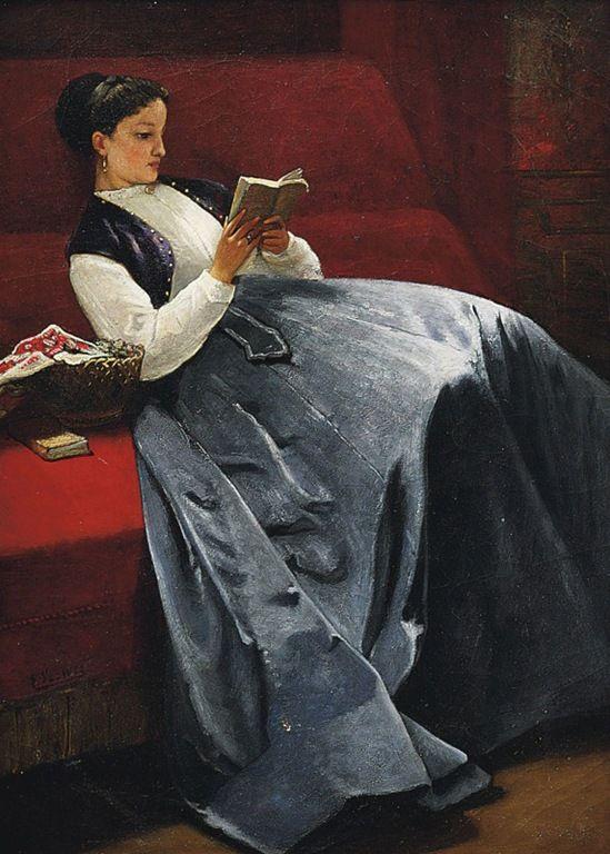 (Lady reading) By Louis Charles Verwee