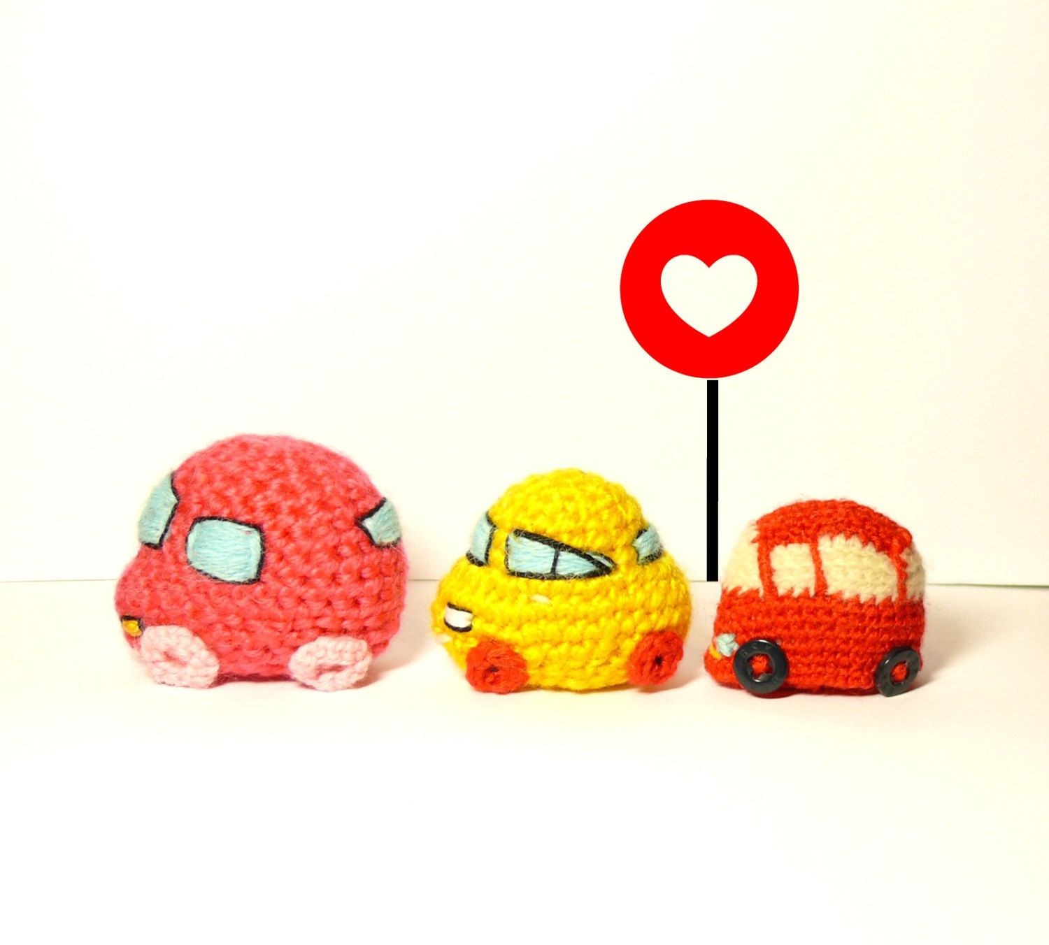 Toys car images  crochet carSet of ThreeCrochet car baby toys red car pink car