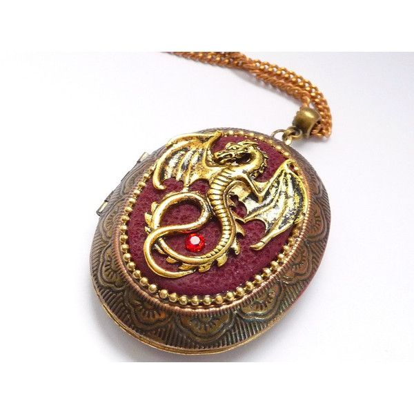 Gold Dragon necklace Fantasy necklace locket unique Dragon jewelry