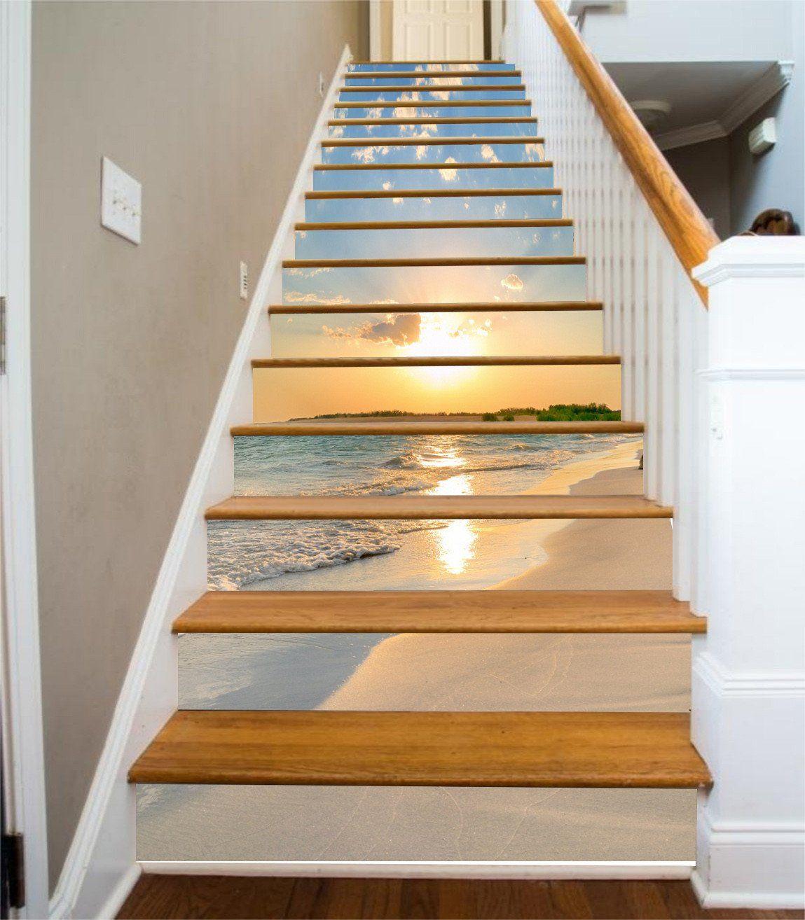Best 3D Beach Sunset 321 Stair Risers Stair Risers Staircase 400 x 300