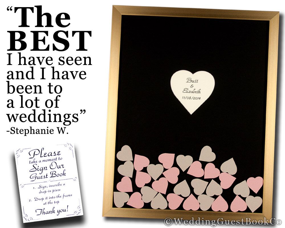 Wedding Guest Book Heart Frame Drop In Top Wood Shadow Box | My ...