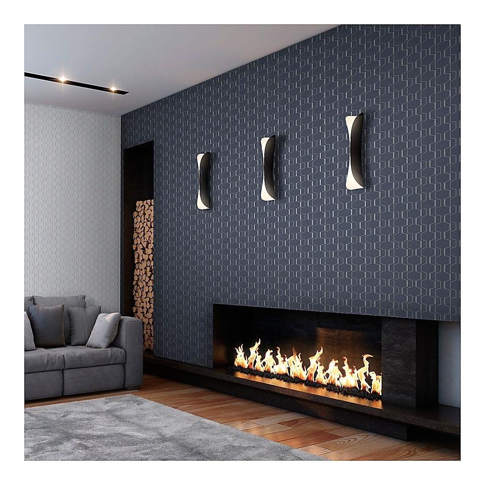 Decorline Harrison Rectangular Geo Wallpaper In Charcoal Wallpaper Fireplace Contemporary Fireplace Home Fireplace