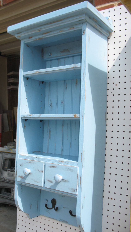 Baby Blue Distressed wall Cabinet/Shelf  Do All - Includes top shelf & Baby Blue Distressed wall Cabinet/Shelf