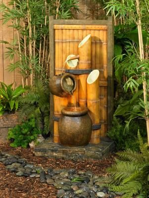 Outdoor asian water fountain for Japanese bamboo water feature