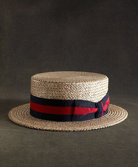 d1ff928ebaec57 The Great Gatsby Collection Straw Boater Hat with Red and Navy Striped  Ribbon Natural-Navy-Red