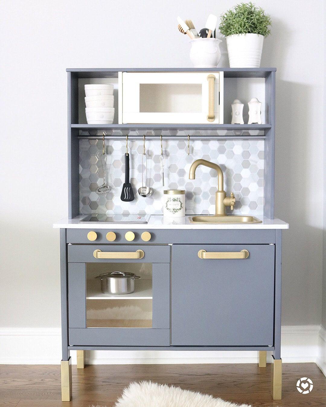 DIY IKEA Duktig Kitchen Hack - Gold, Gray & Marble | Ikea ...