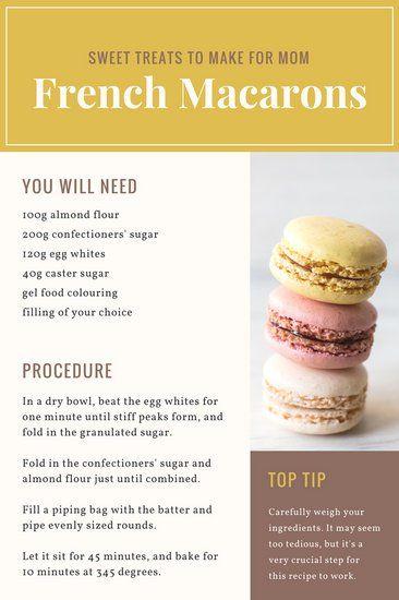 Sweet Treats Recipe Card Blog Graphic Macaroon Recipes Homemade Desserts Fun Baking Recipes