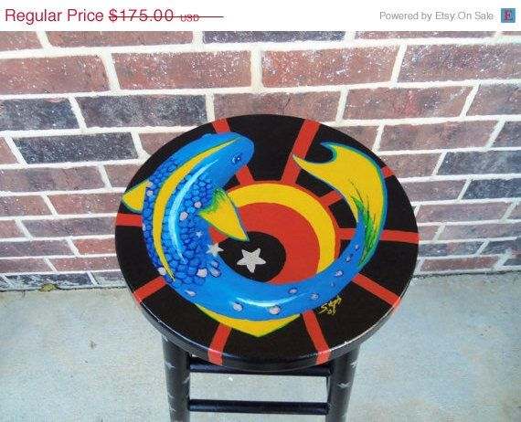 SALE Blue Sun Fish Handpainted Bar Stool by The5thHouse on Etsy, $131.25