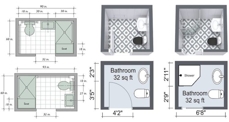 Small 3 4 Bathroom Floor Plans: 5x5 Bathroom Layout With Shower Small Bathroom Space