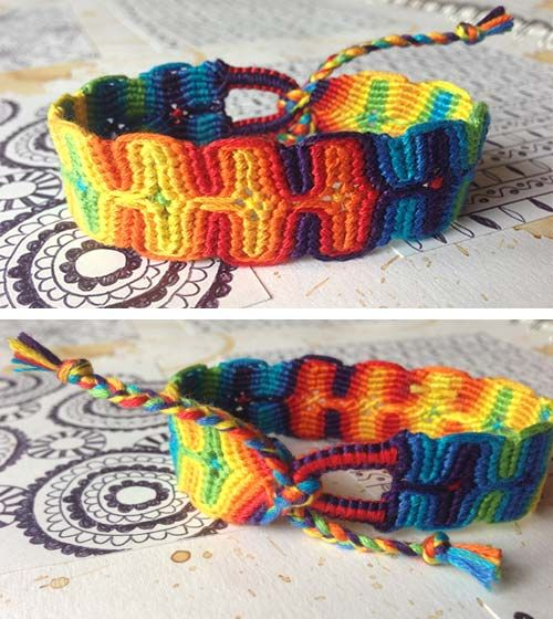 Double Wave Variegated Friendship Bracelet Tutorial BraceletBook Impressive Double Wave Friendship Bracelet Pattern