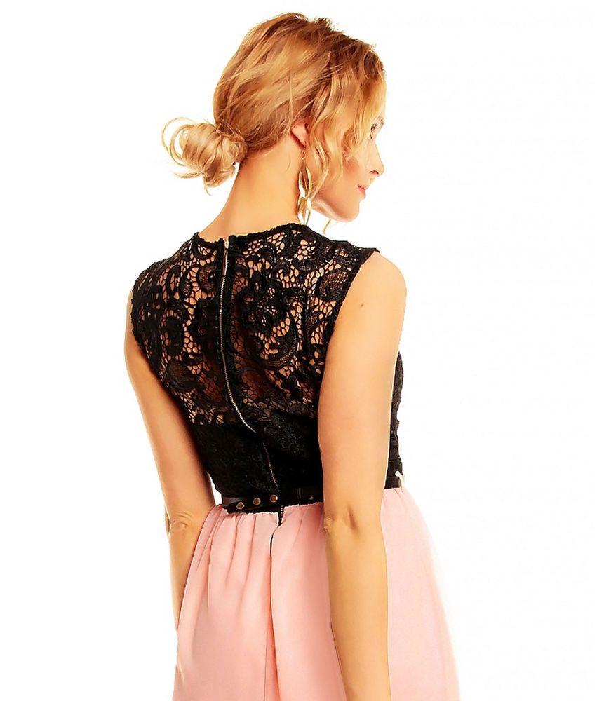 Kleid rosa mit schwarzer spitze