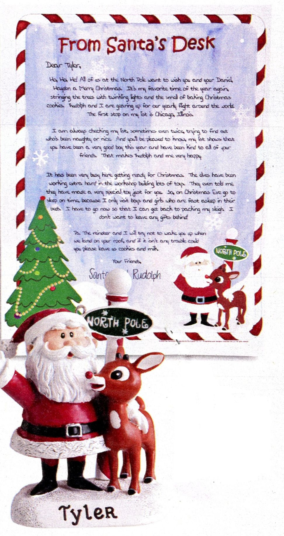 Personalized Ornament And Letter From Rudolph And Santa