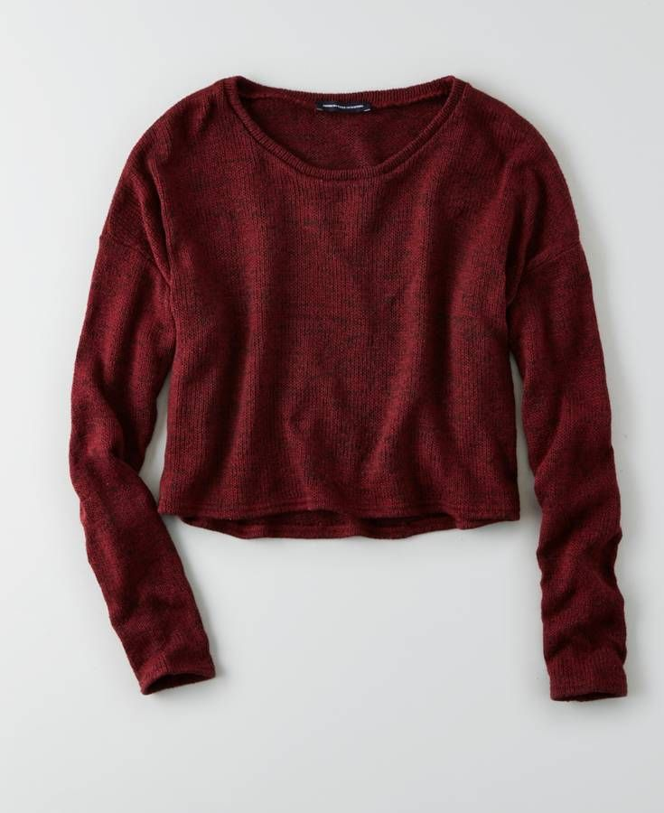 AEO Feather Light Cropped Sweater, Women's, Maroon | *Clothing ...