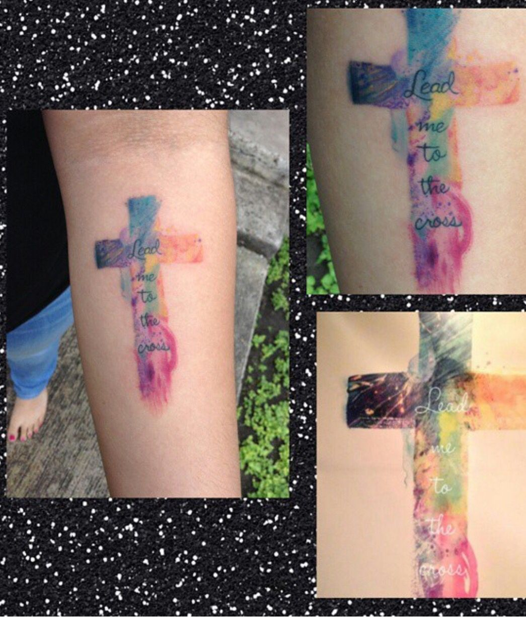 Watercolor cross tattoo leadmetothecross watercolor tattoo