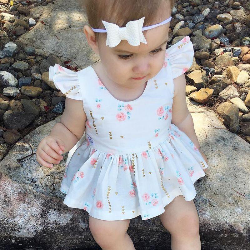 00fab48ca0a Summer Back Heart Shape Hollow Flower Print Kids Infant Toddler Bebe Clothing  Baby Girls Birthday Dress