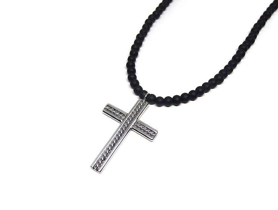 kors halsband herr silver