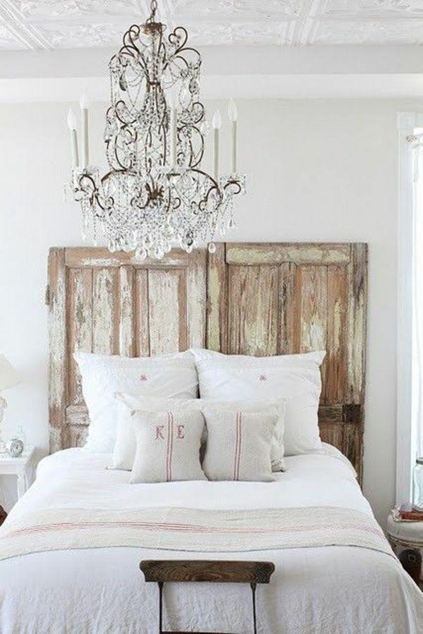 Elegant Bett Kronleuchter Kopfteil Modern Gepolstert Rustikal