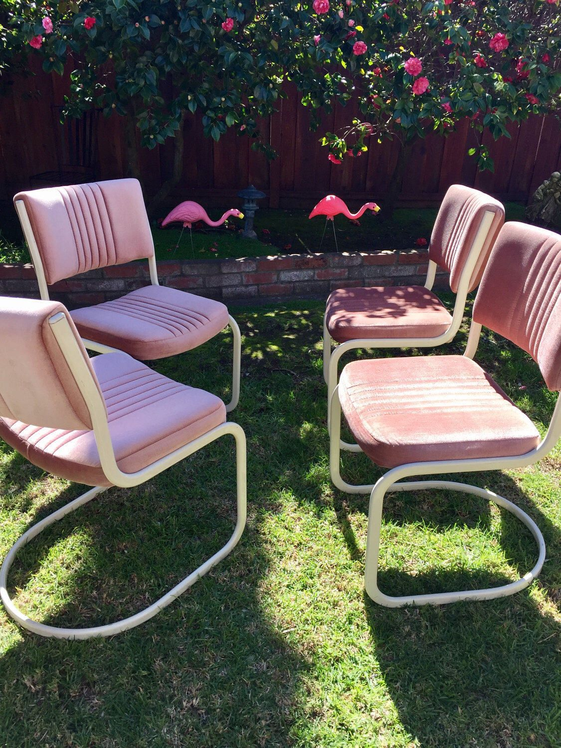 Retro Pretty In Pink Velvet Cantilever Dining Dinette Chairs Set Of 4 By Douglas  Furniture By TheGalwayGirrl On Etsy ...