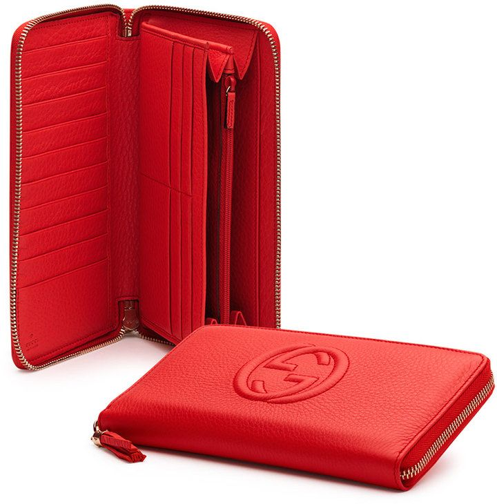 effa332d7cce Gucci Soho Leather Travel Zip Around Wallet, Red | Women wallets ...