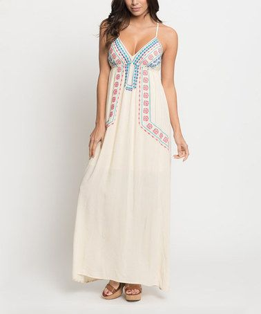 Take a look at this Cream Floral Embroidered Maxi Dress on zulily today!