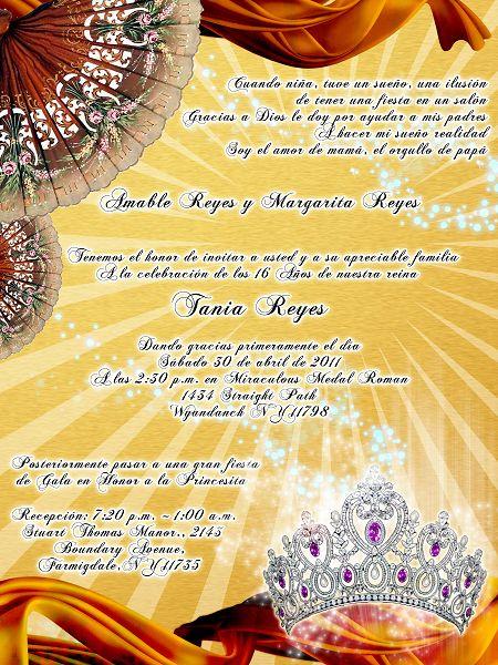 Invitación Para 15 Años Abanicos Y Corona Sweet15
