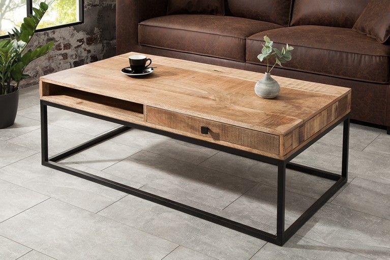 design couchtisch elements 100cm sheesham stone finish eisen schwarz matt riess in