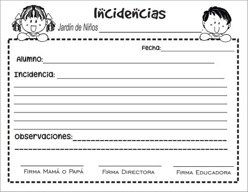 Formato de incidencias en el sal n de preescolar for Inscripcion jardin maternal 2016 caba