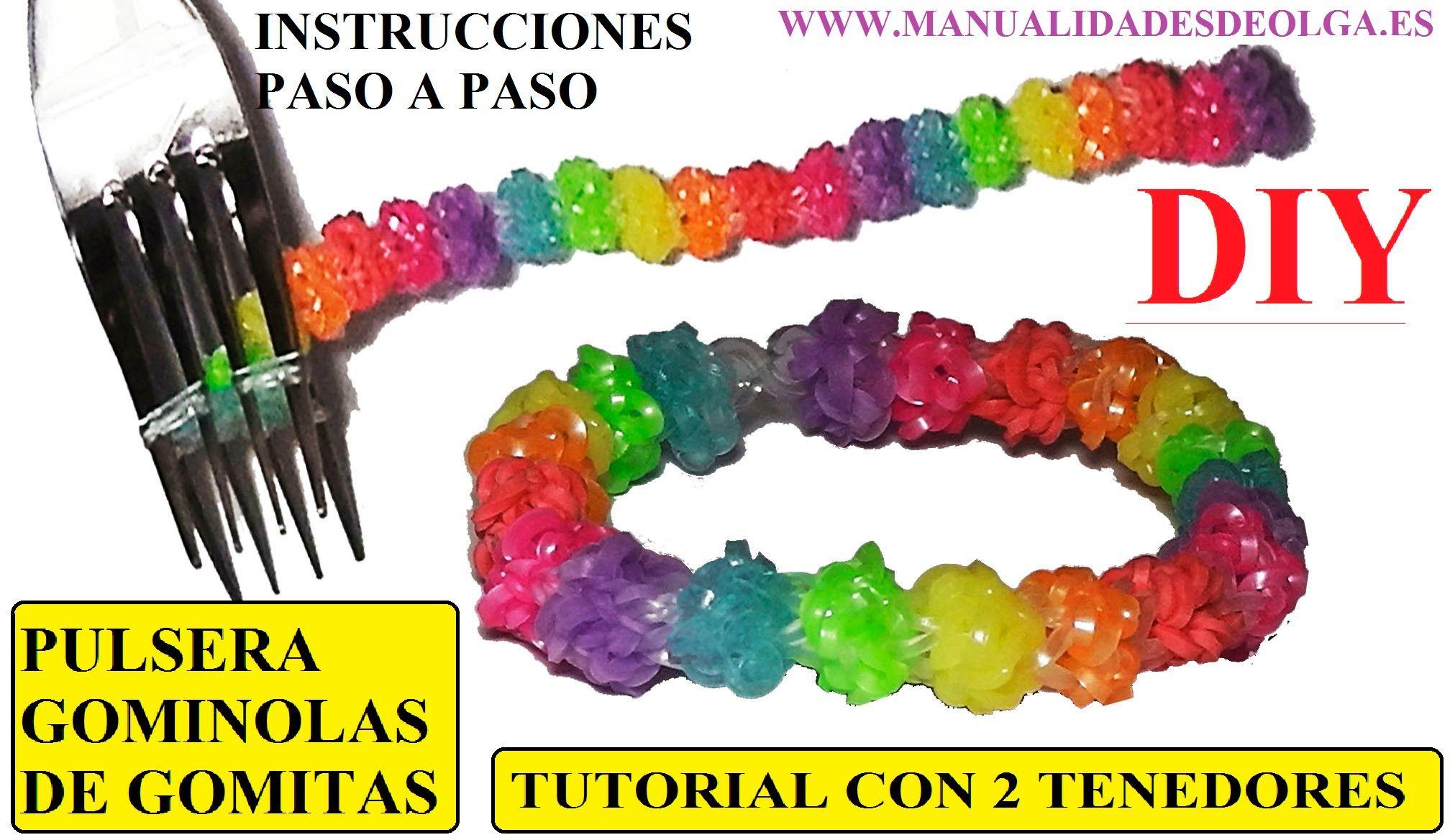 COMO HACER PULSERA GOMINOLAS DE GOMITAS CON 2 TENEDORES GUMDROP II