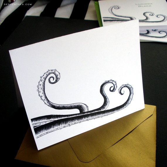 TENTACLE HEART fold over notes by Line117 on Etsy #tentacle #octopus #engagement #love #wedding #stationery #snailmail
