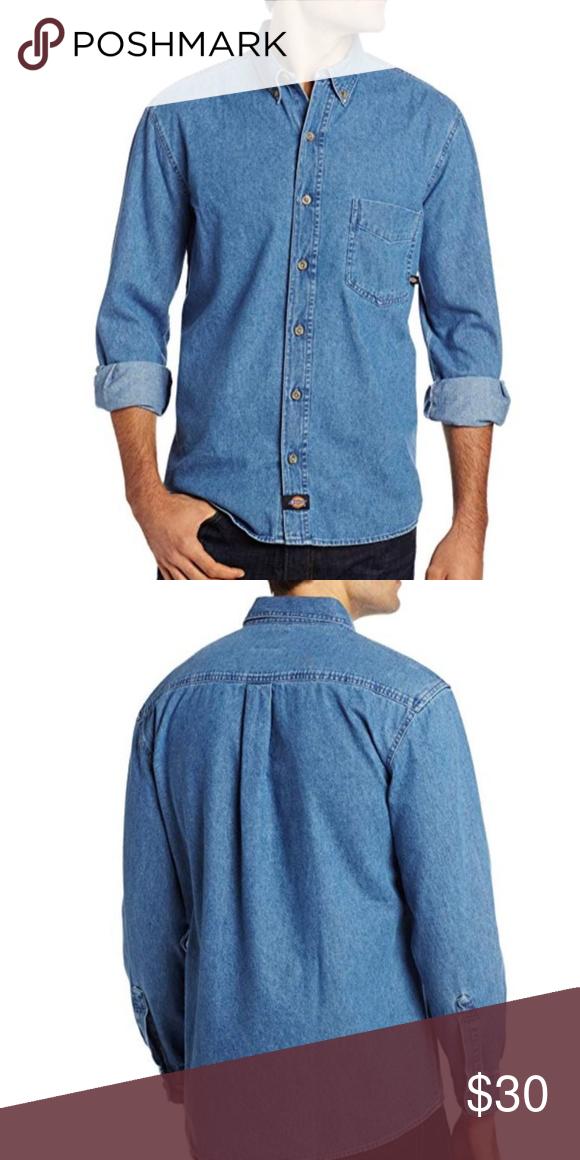 Dickie S Men S Long Sleeve Denim Work Shirt Nwt Work Shirts Shirts Denim