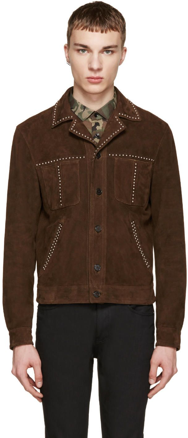Saint Laurent Brown Studded Suede Jacket Suede Jacket Men S Coats And Jackets Jackets