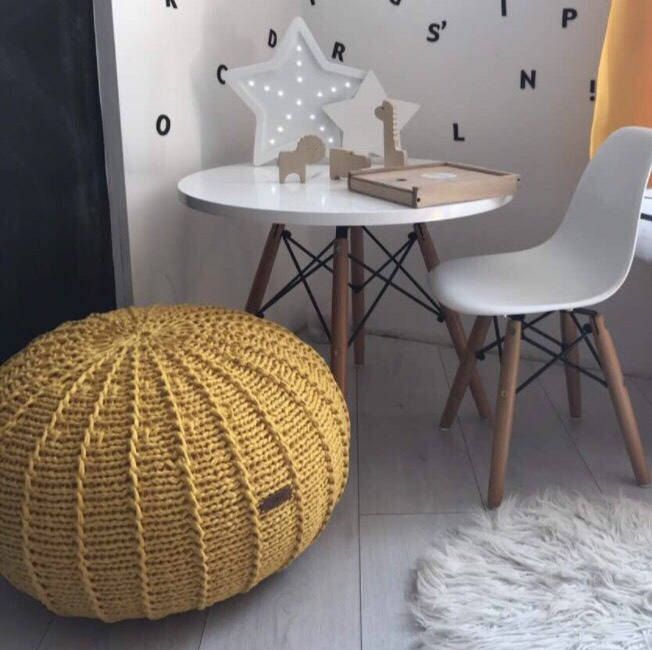 Medium Yellow Floor Pouf Ottoman Knitted Pouf Knit Pouf Enchanting Yellow Knit Pouf