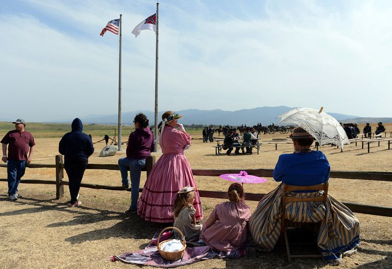 Description of . Participants take part in the Southern California Civil War Association's Civil War reenactment Sunday, April 7, 2013, at Prado Regional Park in Chino. Jennifer Cappuccio Maher/Staff Photographer