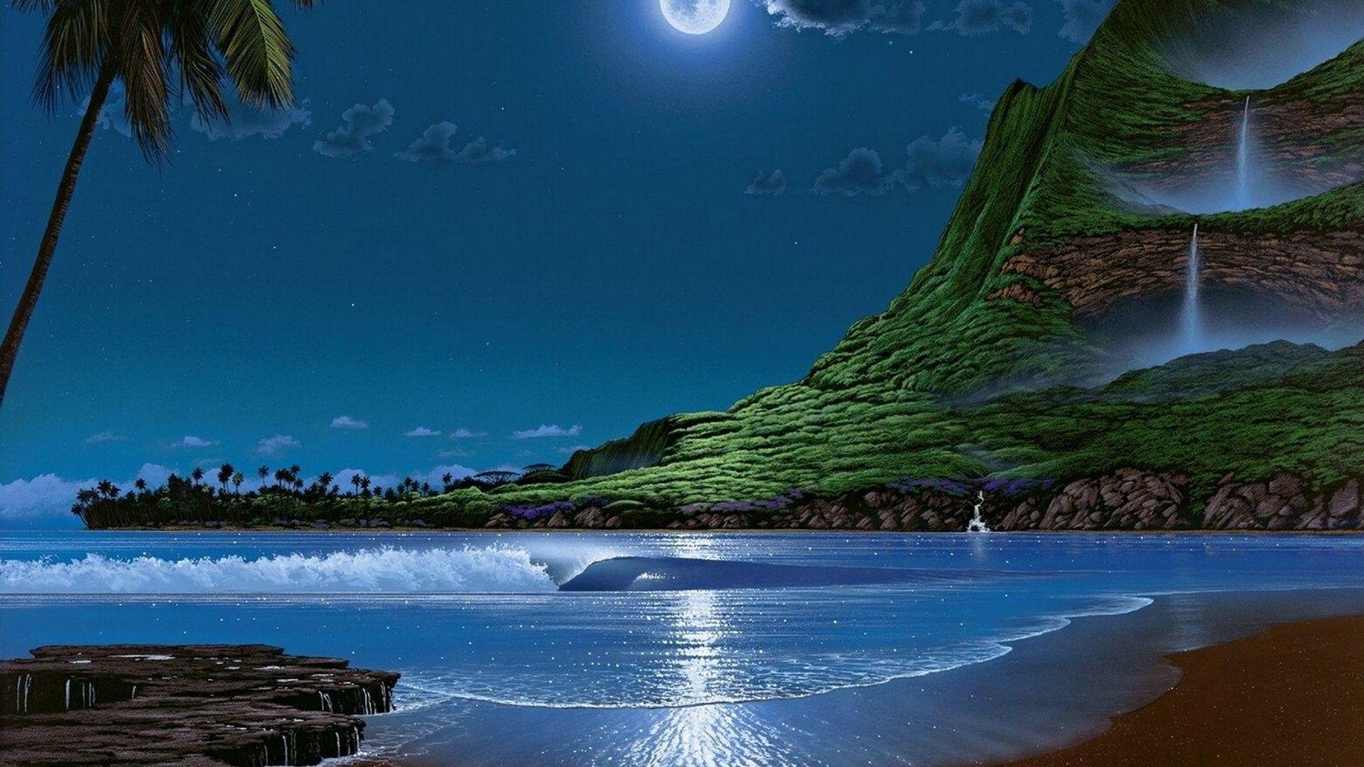 Amazing Fantasy World & Ocean Waves HD Wallpaper 1920x1080 HD | Wallpaper | Free animated ...