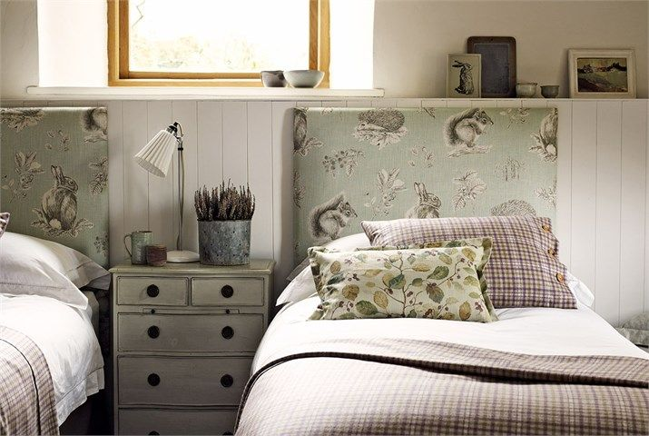 Sanderson Woodland Walk Squirrel And Hedgehog Fabric Headboard