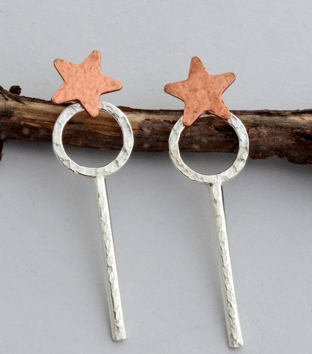 Star, circle and bar stick front back ear jacket earrings, star post stud, sterling silver spike, mix and match double sided earrings ** Additional details found at the image link  : Handmade Gifts