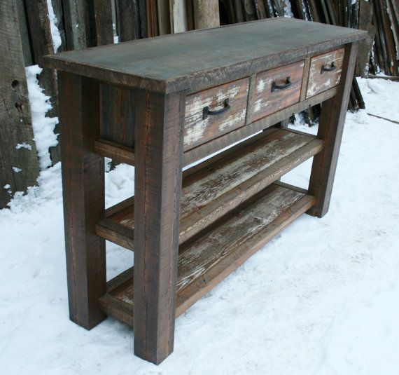 Rustic Foyer Cabinet : Deposit on custom reclaimed rustic console entry table