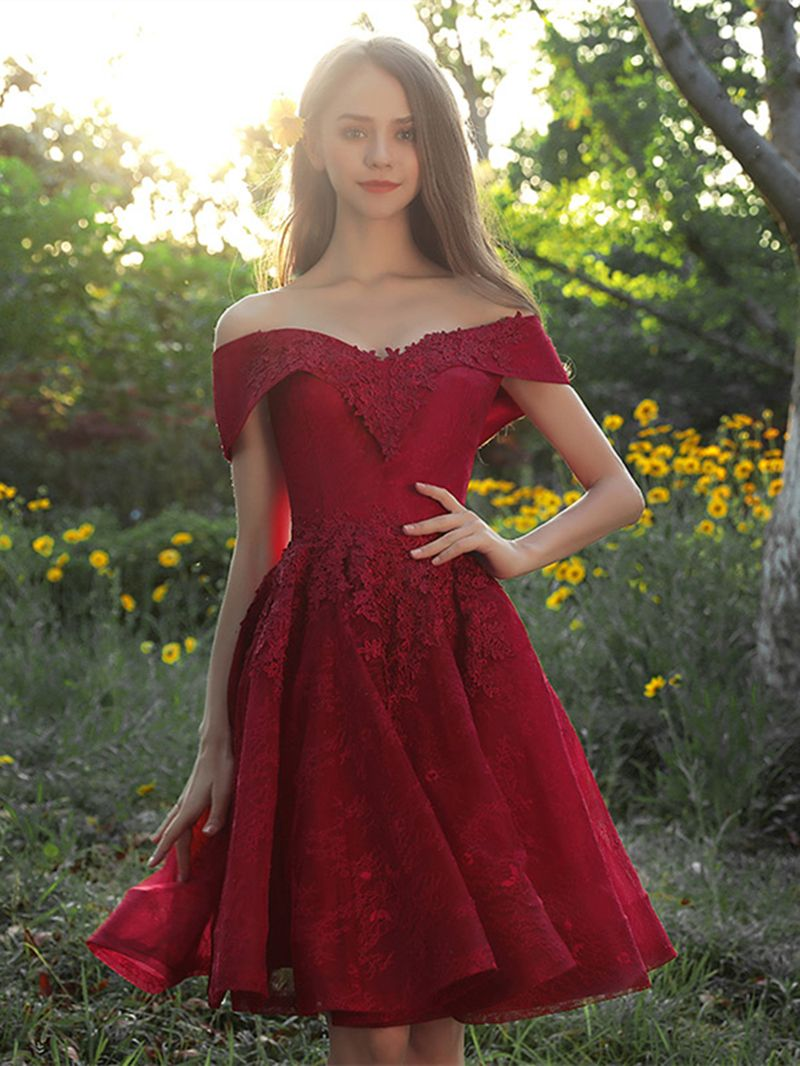 Lace appliques offtheshoulder homecoming dress homecoming