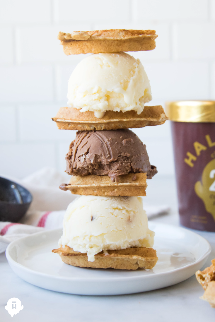 Celebrating National Waffle Day the best way we know how, with plenty of Halo Top ice cream. Simply scoop Halo Top ice cream in between waffles. Yum!