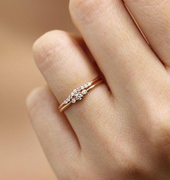 Drei Stein Runde Diamant Ehering Set, Lünette Set Verlobung Hochzeitsband,