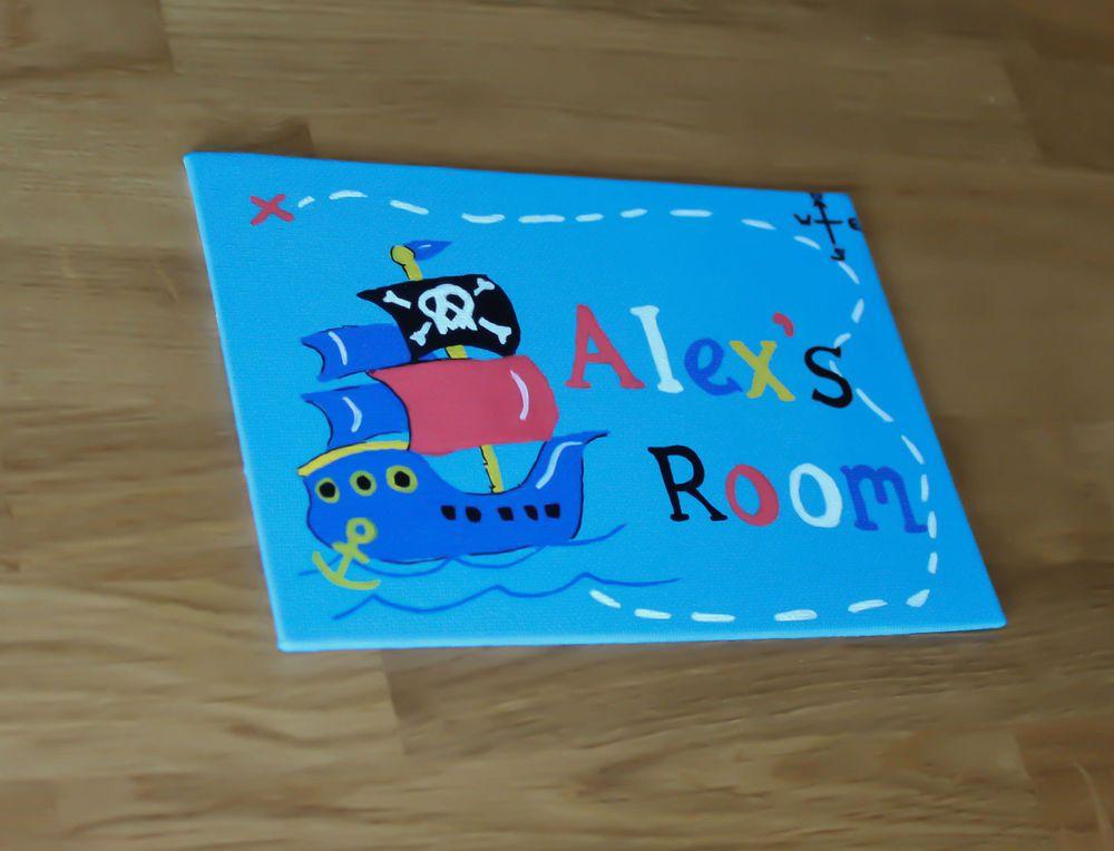 Personalised Childrens Plaque Bedroom Door Sign Boys Pirate Ship