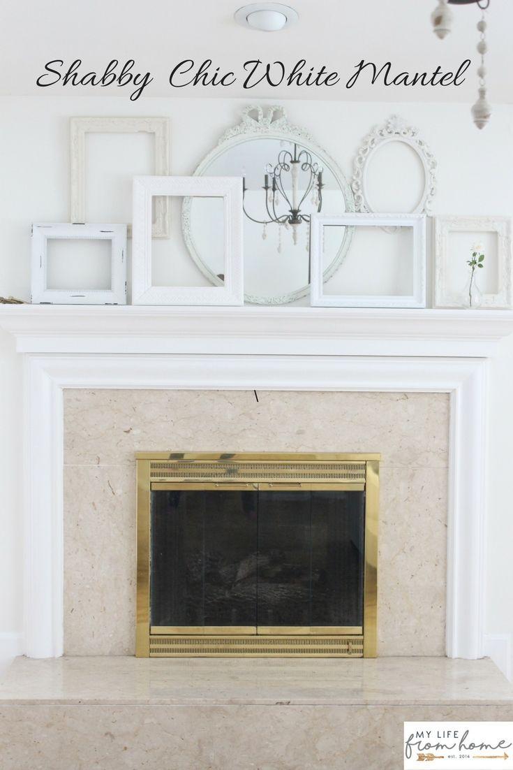 A Shabby Chic White Mantel   Pinterest   White mantel, Empty frames ...