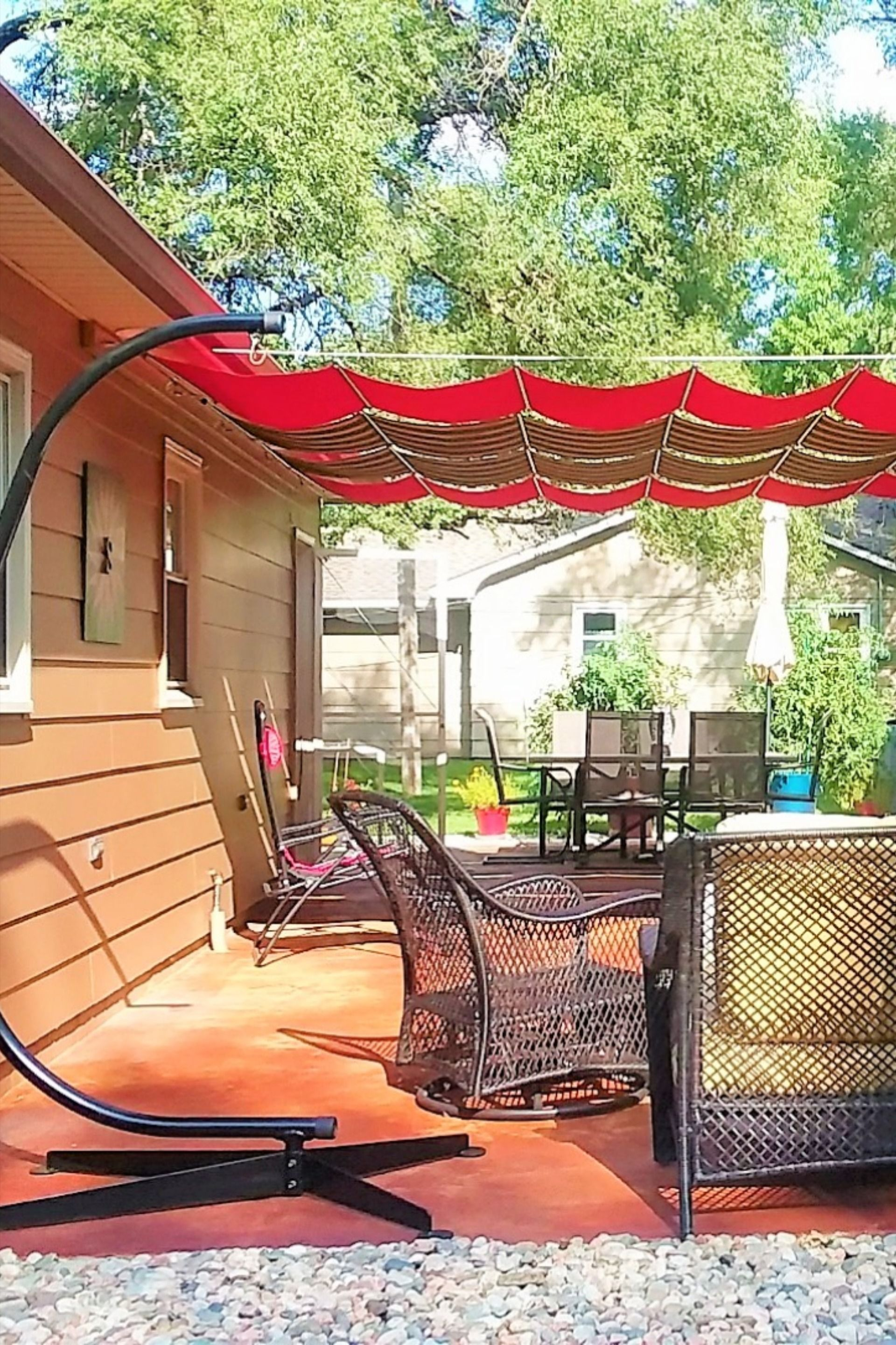 Pin On Striped Fabric Retractable Canopies