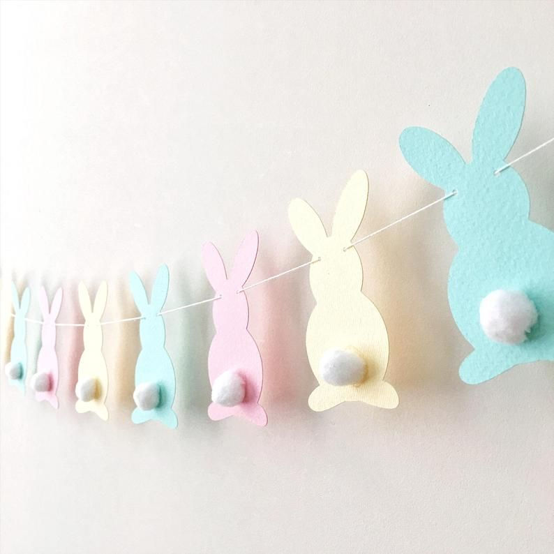 Pastel Bunny Easter Garland Rabbit Garland Bunny Baby Shower 1er anniversaire Pink Yellow Aqua Bunny Banner Easter Decor Spring Home Decor LB017