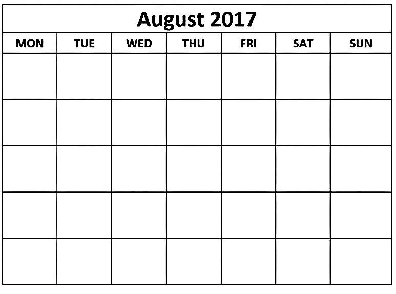 blank calendar august 2017, august 2017 calendar, calendar august - free printable blank calendar