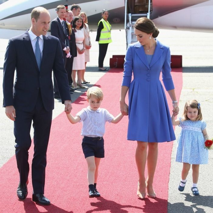 The royals looked picture perfect as they held hands wearing their coordinated cornflour blue outfits to match the color of one of Germany's national flowers, the blue cornflower. Photo: Chris Jackson/Getty Images